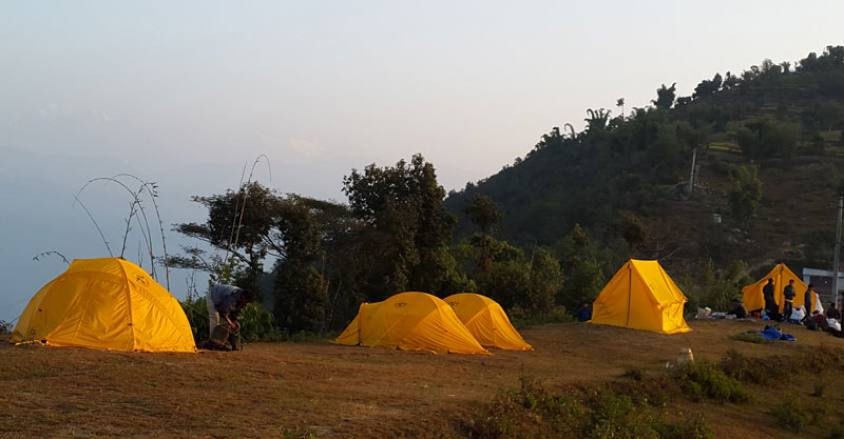 Camping Trekking in Nepal / Camp side in Halesi region