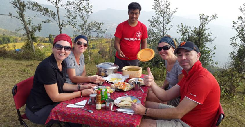 Hot breakfast time / during the camping trek in lower solu