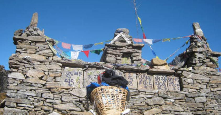 Buddhist Mani stone wall,on the way to Makalu Base camp.