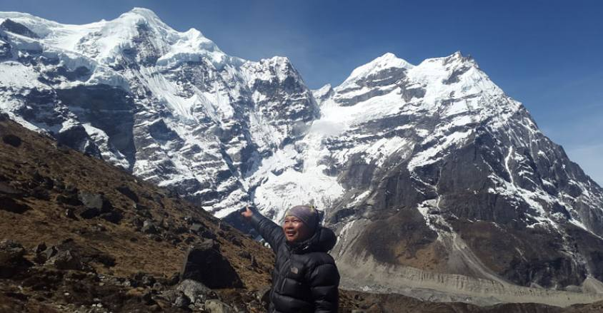 Mera Peak Showing Our Guide Niru Rai, Phaplu to Mera Peak Trekking and Climbing