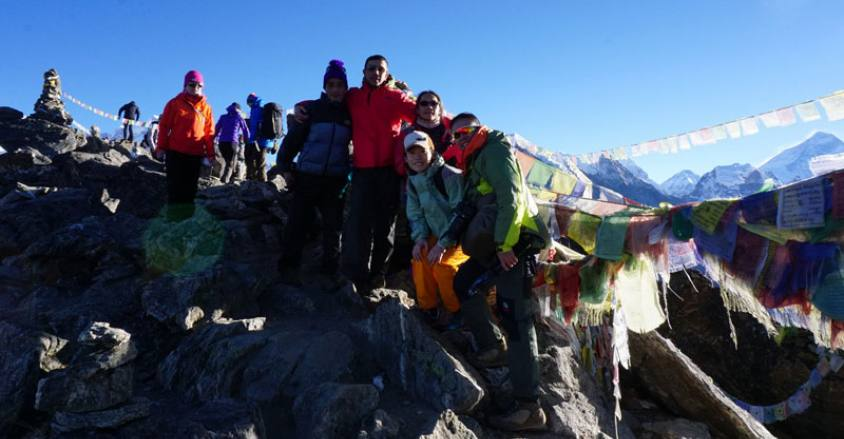 HK. Teams Summit Gokyo- Ri  with Halesi Treks guide Tek.