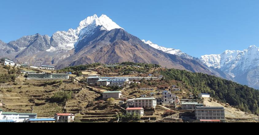 Namche Bazer 3440m. with Mt. Thamserku