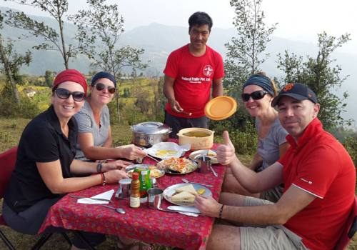 Halesi to Phaplu Trek, having breakfast